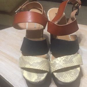 Mossimo Brown Black And Snake Print Wedge Sandals